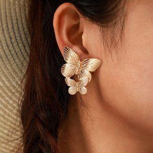 Gold Double Butterfly Wings Stud Earrings